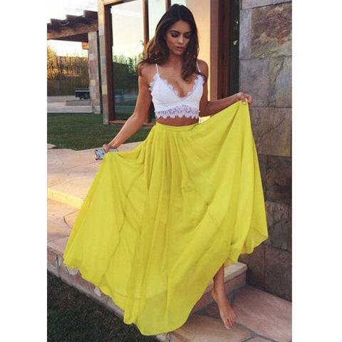Two Pieces White Lace Top Yellow Chiffon Long A-line Prom Dresses, PD0518