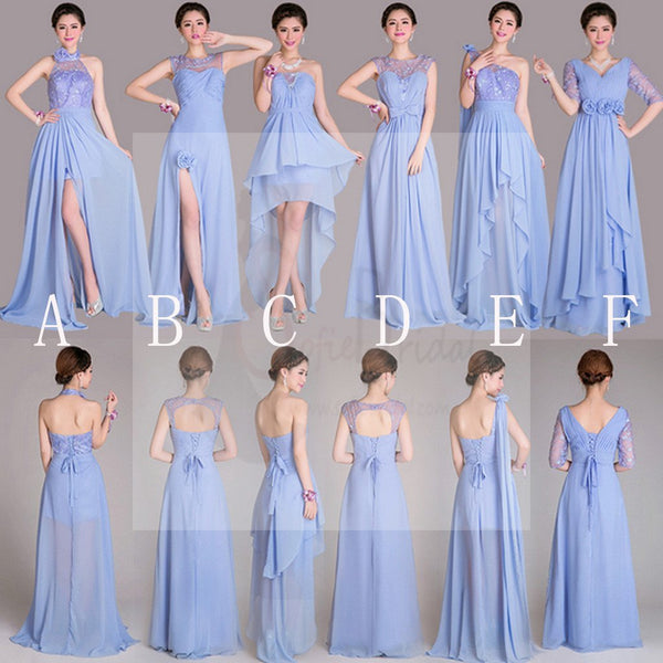 Beautiful Mismatched A Line Lace Up Back Inexpensive Long Bridesmaid Dresses, WD0250