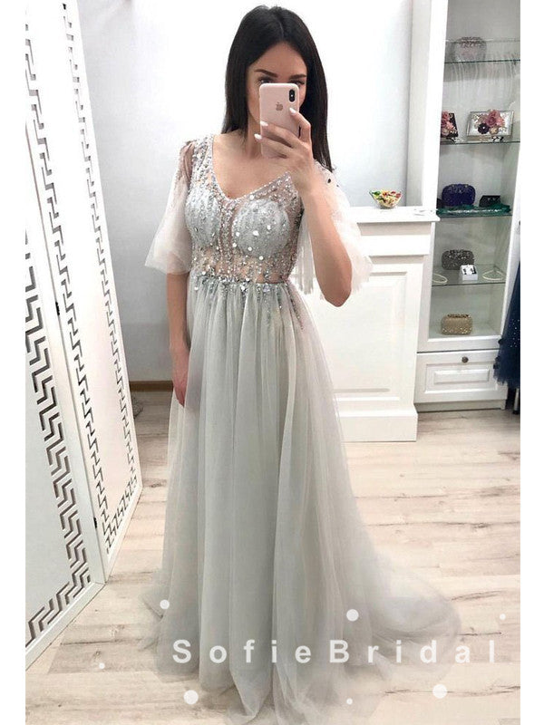 See Through A-Line V-Neck 3/4 Sleeves Tulle Long Prom Dresses With Beading,SFPD0018