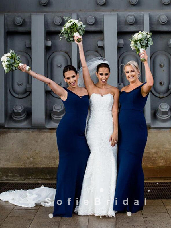 Mermaid Off The Shoulder Dark Navy Floor Length Bridesmaid Dresses,SFWG0018