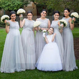 Silver Tulle Elegant Long Cheap Wedding Party Bridesmaid Dresses for Pregnant Girls, WG192