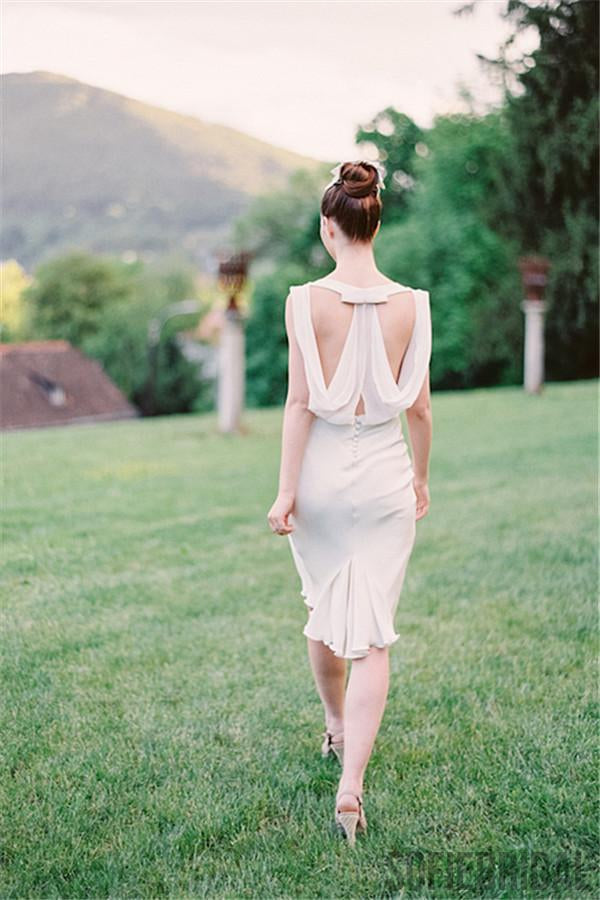 Ivory Short Mermaid Bridesmaid Dresses, Special Wedding Guest Dresses, PD0896