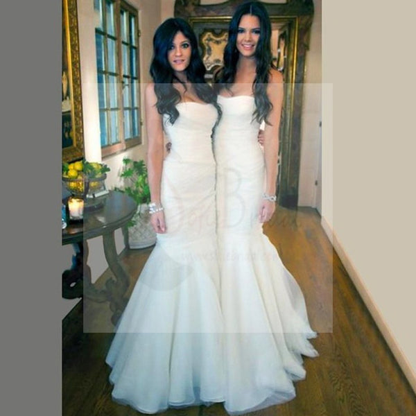 Gorgeous White Tulle Mermaid Long Bridesmaid Dresses for Wedding Party, Cheap Simple Bridal Gown
