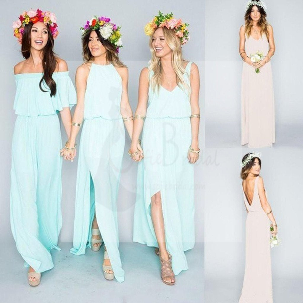 Pretty Young Junior Mint Mismatched Styles Side Split Chiffon Cheap Bridesmaid Dresses