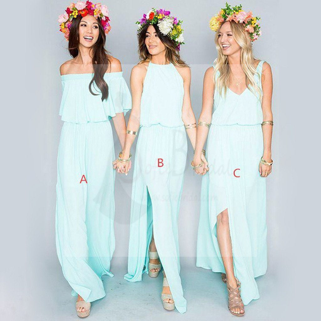 Mismatched different styles chiffon light blue sexy a line floor pretty young junior mint mismatched styles side split chiffon cheap bridesmaid dresses ombrellifo Image collections