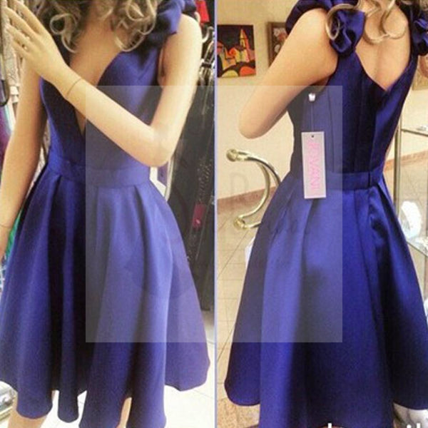 New Arrival Royal Blue simple V-neck junior charming for teens formal homecoming prom dresses, BD00197