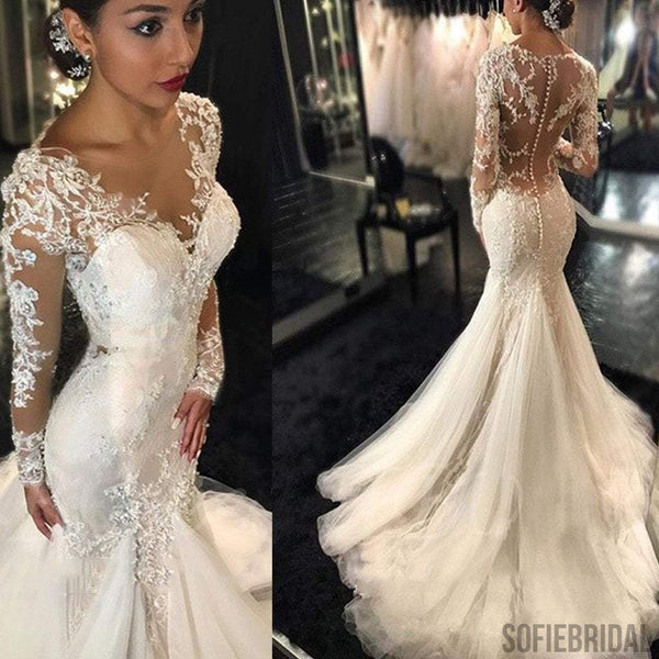 71835cc9833 Luxury See Through Long Sleeve Sexy Mermaid Lace Tulle Wedding Dresses
