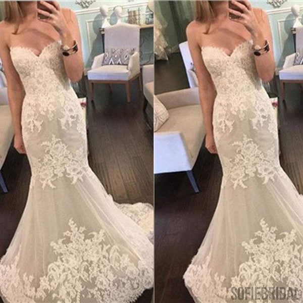 Popular Sweetheart Strapless Mermaid Lace Tulle Cheap Wedding Dresses, WD0199