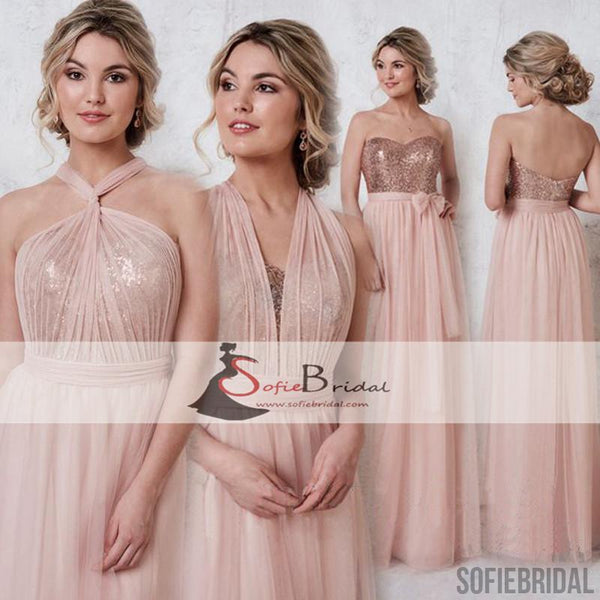 Convertible Chiffon Sequin A-line Bridesmaid Dresses, Sweetheart Bridesmaid Dresses, PD0475