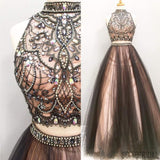 2 pieces Rhinestone Beaded Tulle Prom Dresses, Popular Affordable Long Prom Dresses, PD0318