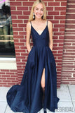 Newest Dark Blue Backless Prom Dresses With Split, PD0990