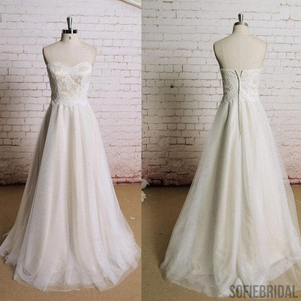 Sweetheart Lace Top A-line Elegant Zip Up Affordable Wedding Dresses, WD0219