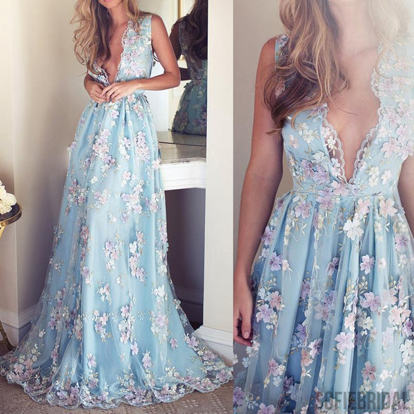 V-neck Sleeveless Blue tulle Appliques Prom Dresses, Affordable Long A-line Prom Dress, PD0325