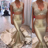 2 Pieces Sleeveless Lace Gold Satin Prom Dresses, Long Mermaid Prom Dresses, Cheap Prom Dresses, PD0329