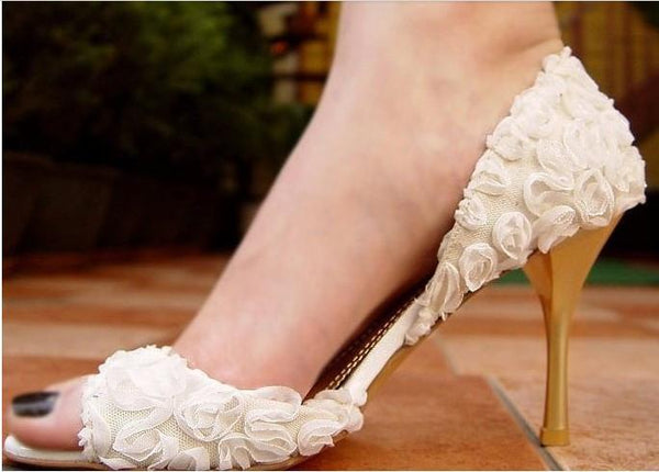 Elegant Flower Lace Women's High Heels Fish Toe Wedding Shoes, S010