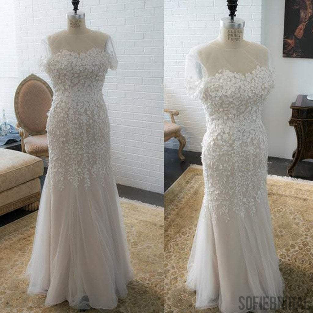 Vantage Sheath Appliques Cap Sleeve Tulle Wedding Dresses, WD0185