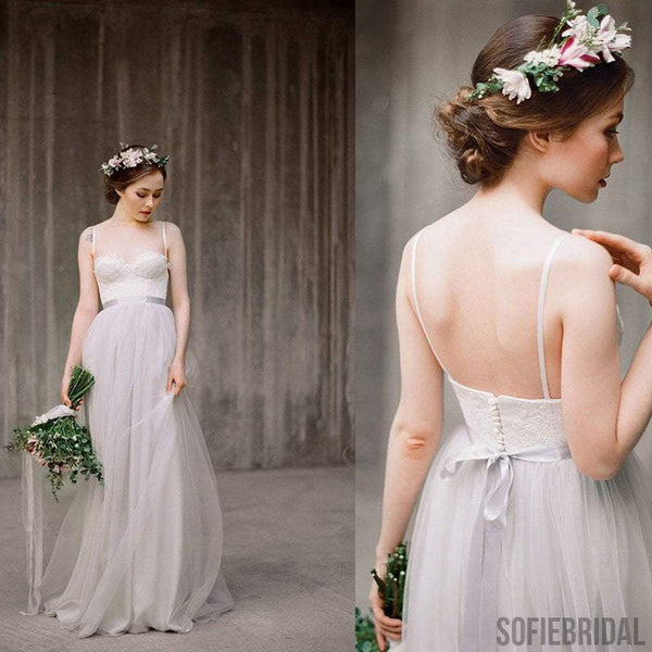 Spaghetti Lace Top Light Grey A-line Simple Design Wedding Dresses, Beach Wedding Dresses, WD0224