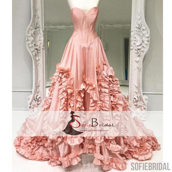 Sweetheart Floral Long A-line Prom Dresses, Chic Design New Arrival Prom Dresses, PD0365