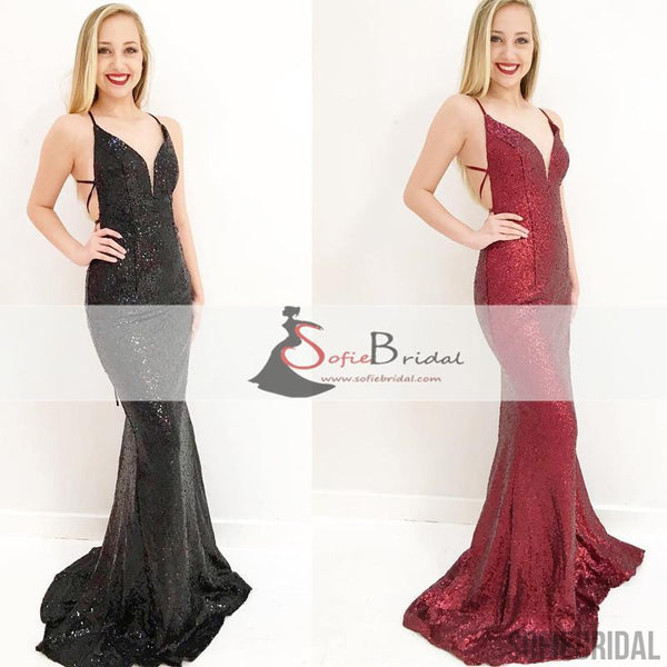 Simple Design Sequin Mermaid Lace Up Prom Dresses, Affordable Prom Dresses, PD0435