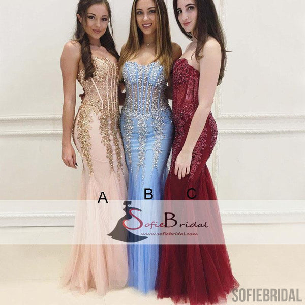 Sweetheart Rhinestone Beaded Mermaid Tulle See Through Prom Dresses, Evening Dresses, PD0388