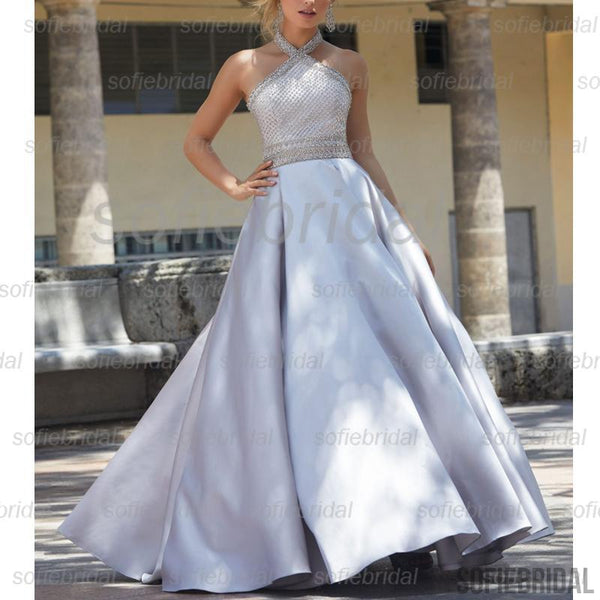 Halter Satin Long A-line Beaded Top Shiny Prom Dresses, Cheap Prom Dresses, PD0356