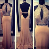 2 pieces Halter Backless Rhinestone Beaded Sexy Mermaid Long Prom Dresses, PD0284