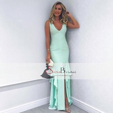 V-neck Sleeveless Jersey Prom Dresses, Front Slit Mermaid Prom Dresses, Prom Dresses, PD0399