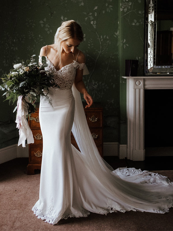 Cheap V-Neck Lace Mermaid Long Wedding Dresses Online,SFWD0021