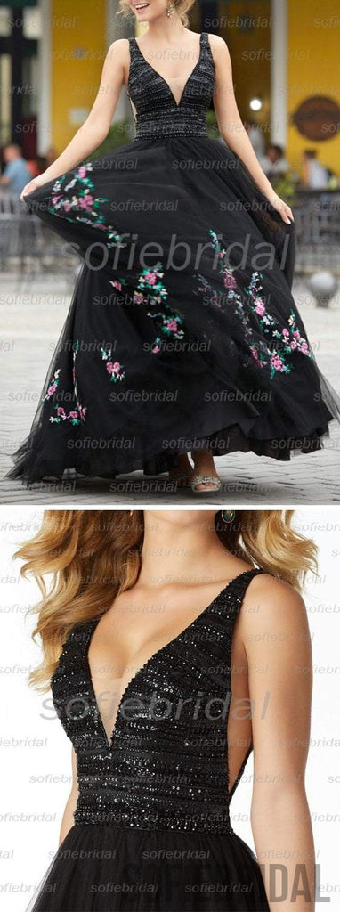 New Arrival Black V-neck Beaded Top A-line Tulle Embroidery Long Prom Dresses, PD0347