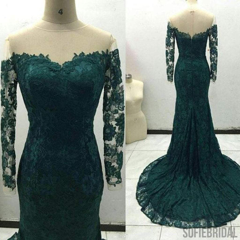 Off Shoulder Green Lace Long Sleeve See Through Long Sheath Prom Dresses, PD0269