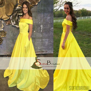 Off Shoulder Yellow Satin A-line Prom Dresses, Lovely Long Prom Dress, Prom Dresses, PD0467