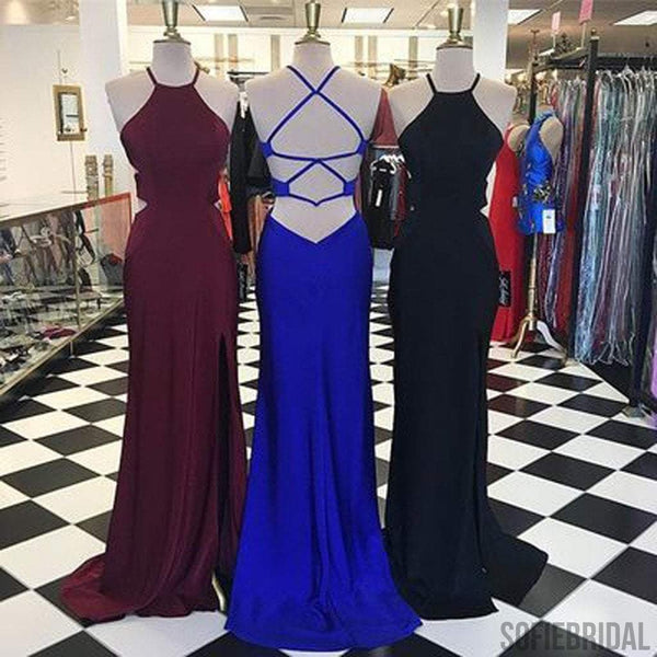 Simple Design Long Sheath Side Slit Jersey Long Prom Dresses, PD0266