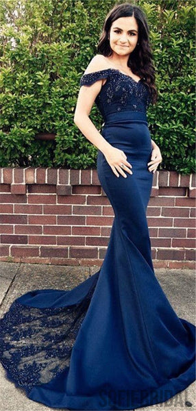 Mermaid Off-shoulder Lace Appliques Prom Dresses With Train, PD0092
