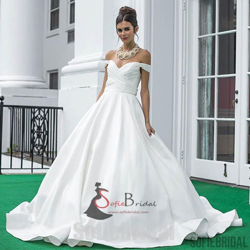 Off Shoulder Long A-line Satin Wedding Dresses, Simple Design Bridal ...