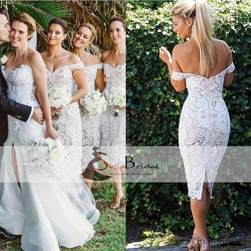 Off Shoulder Lace Bridesmaid Dresses, Tea Length Bridesmaid Dresses, Cheap Bridesmaid Dresses, PD0483