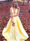 Simple Cheap V-neck Yellow Long Satin Prom Dresses, PD0081