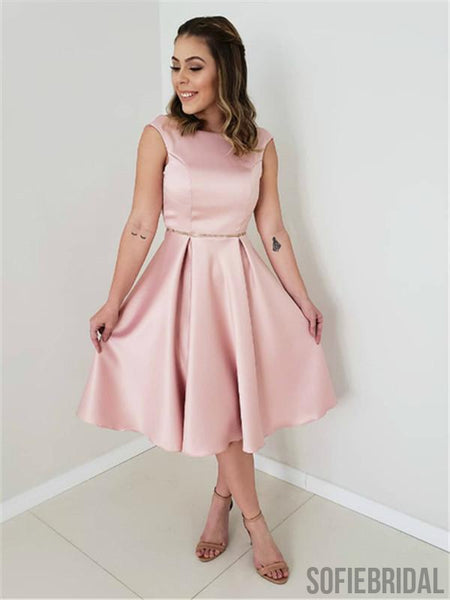 A-line Cap-sleeves Simple Pink Satin Long Homecoming Dress, HD0158