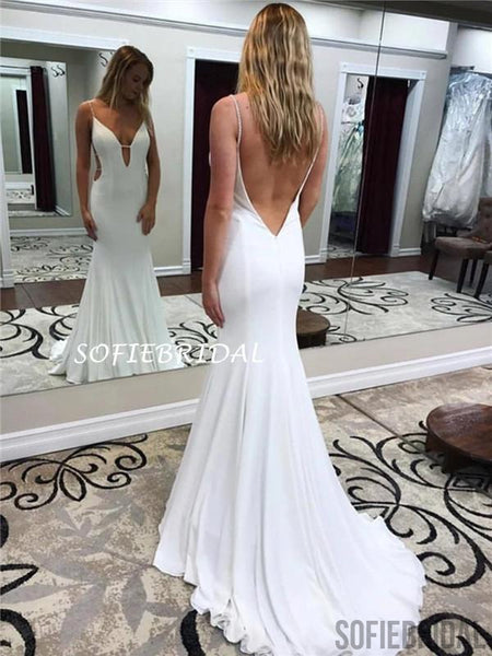 Mermaid Spaghetti Straps V-neck Backless Sexy Prom Dresses, PD1012