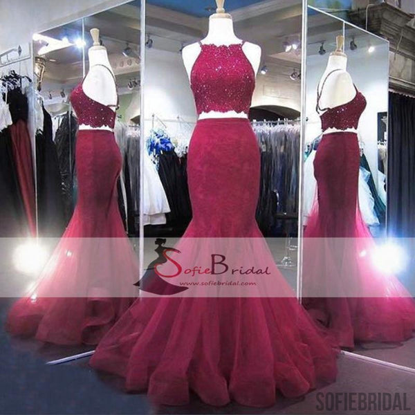 2 Pieces Lace Beaded Prom Dresses, Mermaid Tulle Prom Dresses, Popular Prom Dresses, PD0411