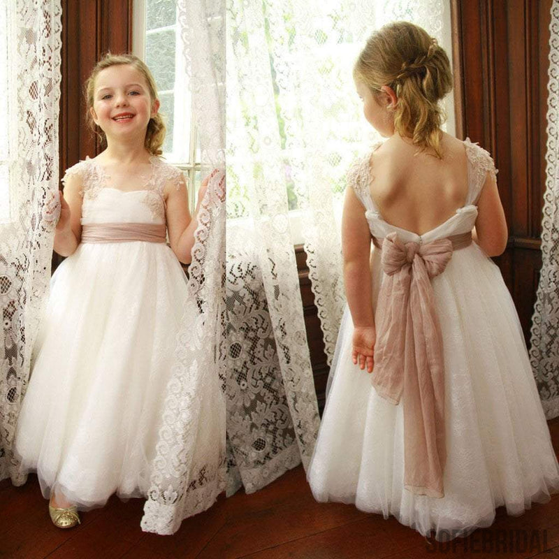 Little Girls Wedding Gowns: Ivory Lace Tulle A-line Little Girl Dresses,Lovely Flower