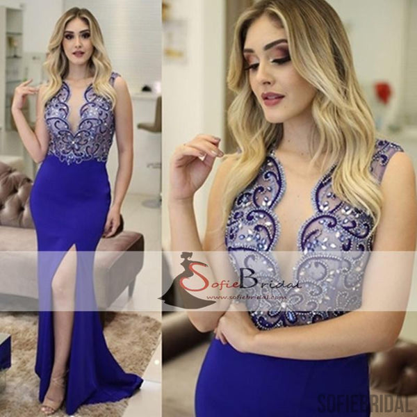 Royal Blue Rhinestone Beaded Mermaid Jersey Side Slit Prom Dresses, Prom Dresses, PD0408