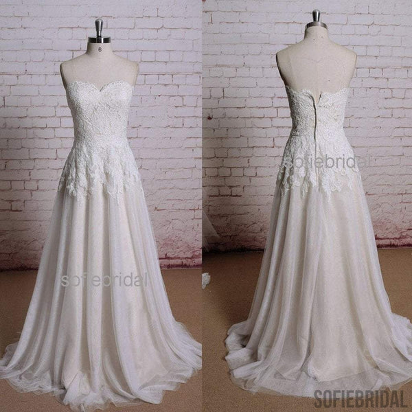 Sweetheart Lace Top Long A-line Zip Up Tulle Wedding Party Dresses, WD0210