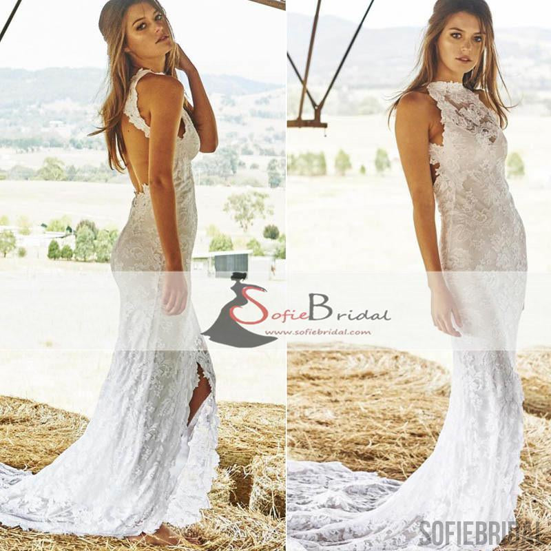 High Neck Lace Mermaid Wedding Dresses, Front Slit Open Back Wedding Dresses, WD0268