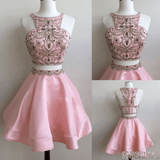 Popular pink Stunning Bateau Two pieces unique style cocktail homecoming prom gown gowns dress,BD00113