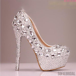 High Heels Handmade Fully Rhinestone Pointed Toe Crystal Wedding Shoes, S031