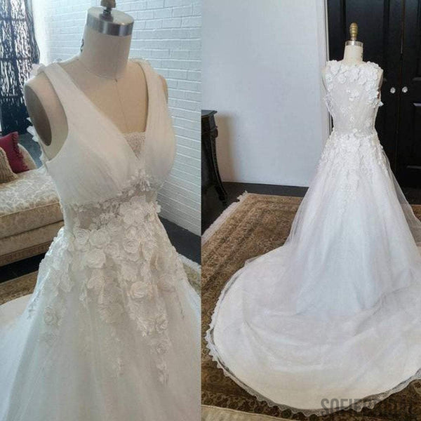 Long A-line V-Neck Sleeveless See Through Appliques Wedding Dresses, WD0201