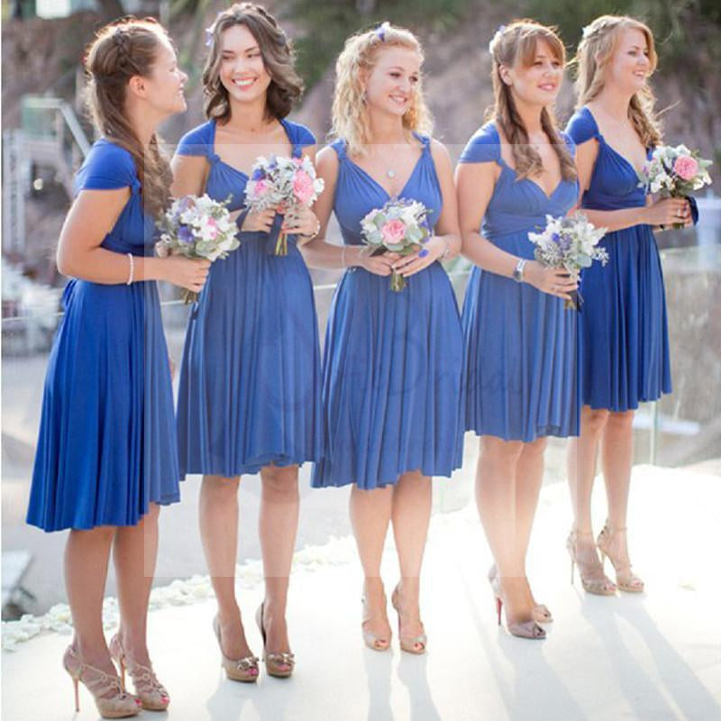 Convertible Royal Blue Short Jersey Bridesmaid Dresses Wedding Guest Dresses Wg151