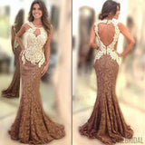 New Arrival sexy Brown Mermaid Open Back Lace Long Prom Dresses, PD0282