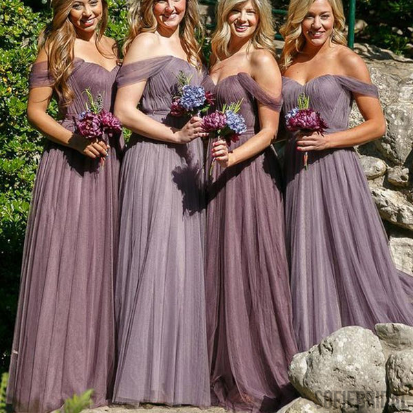 Off Shoulder Long A-line Tulle Bridesmaid Dresses, Wedding Guest Dresses, PD0296