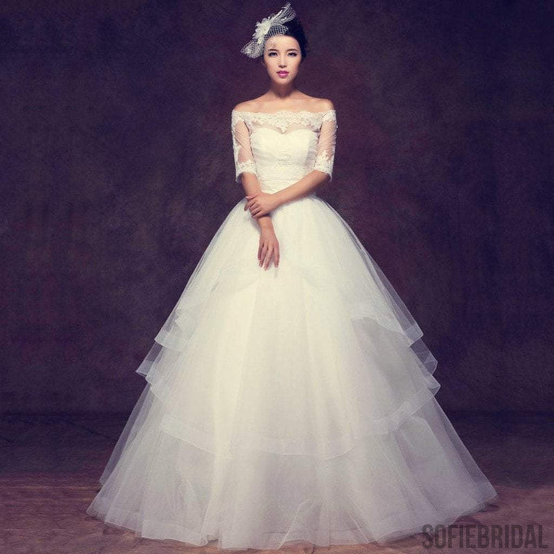 Gorgeous Off Shoulder Half Sleeve Ball Gown See Through Lace Wedding Dress, WD0097